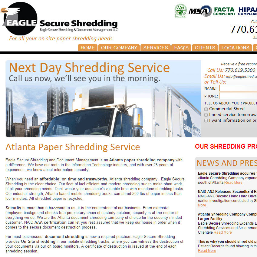 Eagle Secure Shredding Site Launched