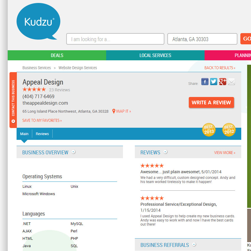 Appeal Design named to Kudzu's 'Best of' for the second straight year